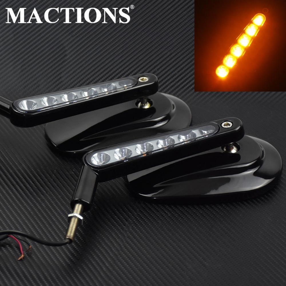 Noir Arrière Vue Latérale Rétroviseurs Miroir LED Clignotants Lumière Pour Harley Touring Road King Classique V-ROD VRSCF Sportster Deluxe