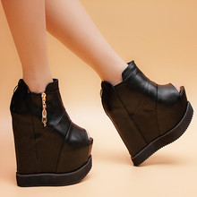 2016 spring and autumn wedges sandals zipper platform shoes elevator 15cm ultra high heels boots ankle boots female