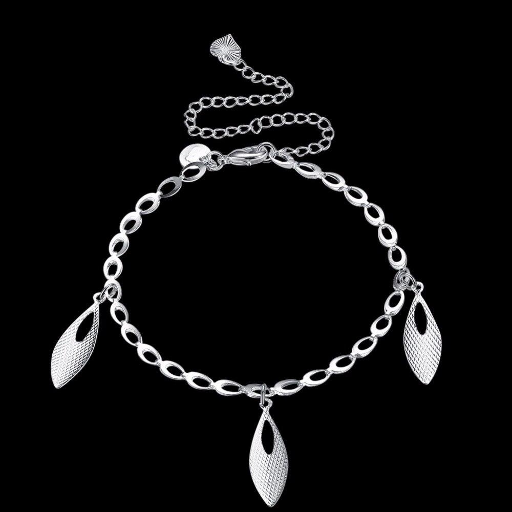 Ножные браслеты ноги носит три капли воды Подвески Серебро 925 творческая жизнь Безопасная Цепи для девочек подарок ювелирных изделий Беспл...