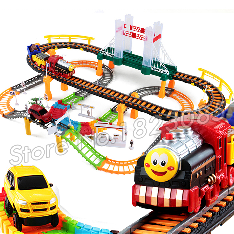 89pcs Thomas the Train Friends Mini Motorized Battery Train Track Orbital Electric Trains Rail Car Baby