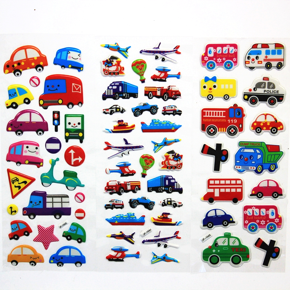 6PCS / lot Mixed Cartoon Bubble Stickers  Transport Cars Children Kids Girls&Boys  Cartoon Stickers Decoration Christmas Gift ...