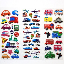 6PCS / lot Mixed Cartoon Bubble Stickers  Transport Cars Children Kids Girls&Boys  Cartoon Stickers Decoration Christmas Gift