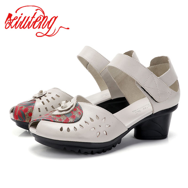 Xiuteng Bahar Yaz Bayanlar Kadınlar Kalın topuk 2019 Üst Marka Moda Hakiki Deri Balık Ağız Içi Boş Ayakkabı Pompa Kadın