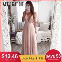 Afogafoo сексуальное летнее розовое платье с глубоким v-образным вырезом и открытой спиной, женское элегантное Кружевное Вечернее Макси-платье,...