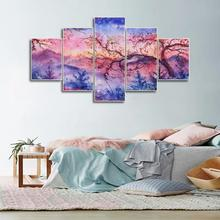 Laeacco 5 Panel Abstract Waterolor Scenery Wall Artwork Decor Canvas Painting Posters and Prints Home Living Room Decoration