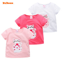 DzBoom Girl T Shirt 2017 Summer New Children S Short Sleeve Cat Embroidered Baby Cloth Cotton
