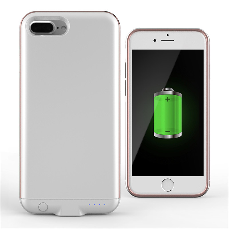imágenes para Moda Marco de Aluminio de la Batería Externa Caja de Batería Para el iphone 7 Plus Banco de la Energía cargador de Caso Para el iphone 7 Plus de 5.5 pulgadas caso