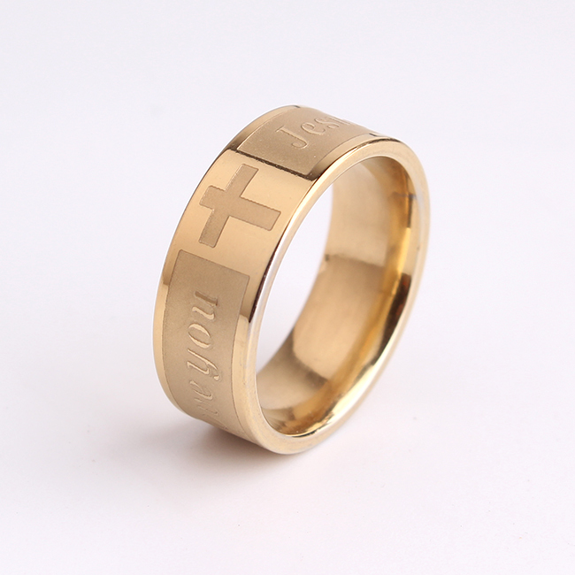 JESUS LOVE YOU gold cross 316L Stainless Steel finger rings for men wholesale jewelry