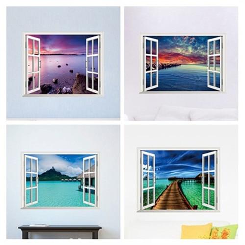 Beautiful sky tropical ocean 3d window view blue sea home for Ocean home decor