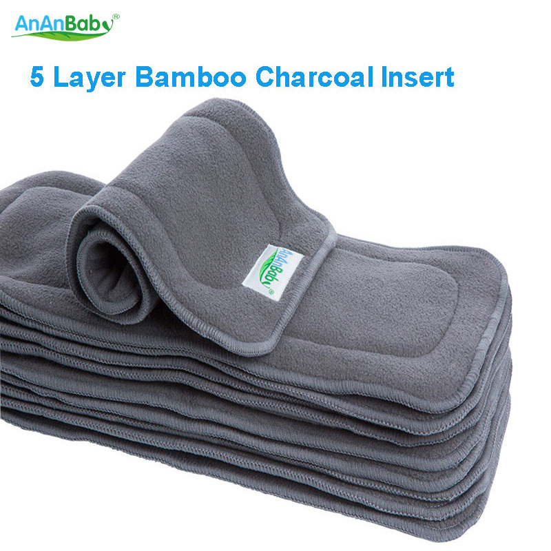 Hot Sell AnAnBaby 2015 New Reusable 20pcs pack 5 Layer Bamboo Charcoal Inserts