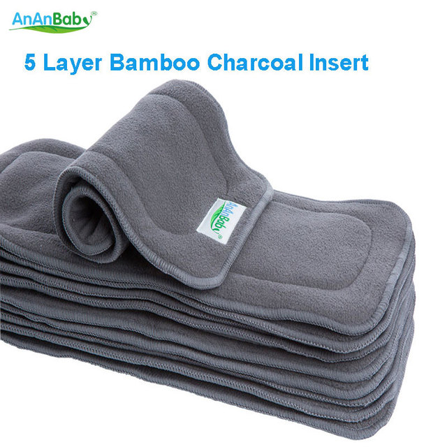 Hot Sell AnAnBaby 2015 New Reusable 20pcs/pack 5 Layer Bamboo Charcoal Inserts