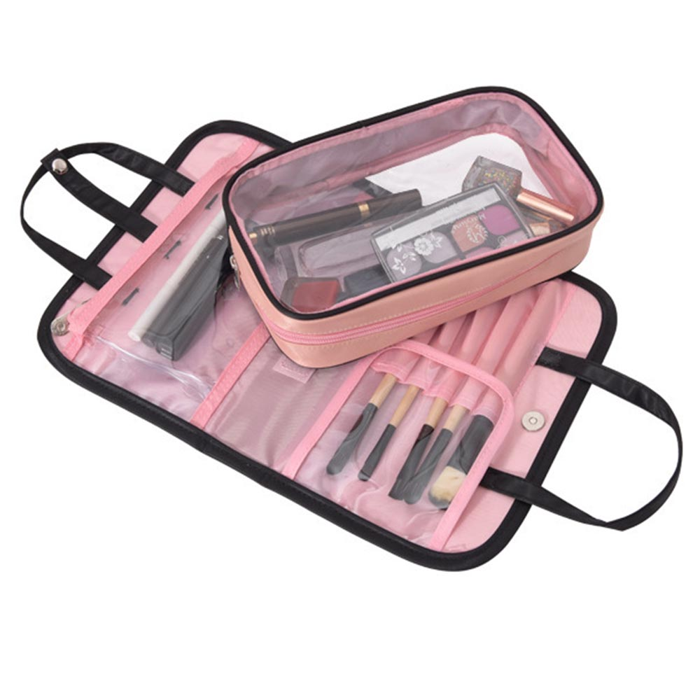 Women's Two-in-one Cosmetic Bag Folding Cosmetic Storage Bags Travel Organizer Makeup Bag Large Capacity Beauty Toiletry Bags