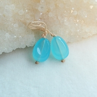 New Design Natural Stone Blue Jade T Drilled Earring Bead 14x10x8mm 2 9g Charms Jewelry Accessories