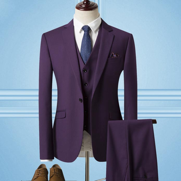 custom made men's suits three pieces purple one button wool men's suits wedding suits groom bridegroom jacket with pant vest