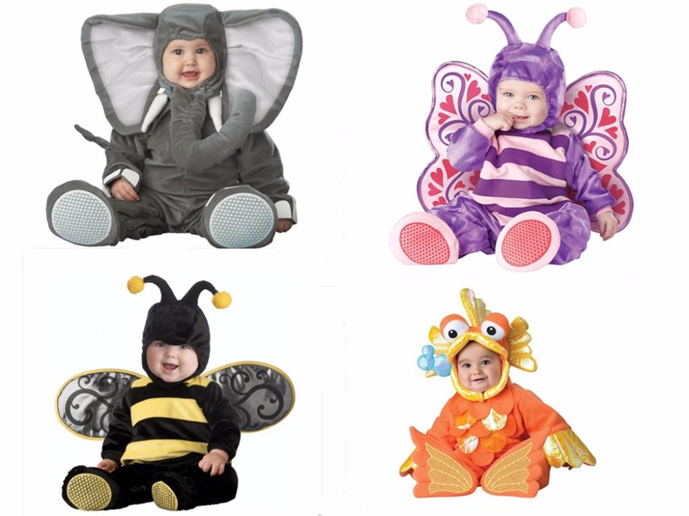 Children Jumpsuits Elephant Butterfly Goldfish Bee Onesie Kids Girls Boys Baby Animal Cosplay Pajamas Halloween Purim Costumes
