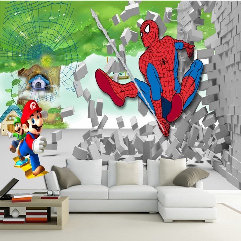 Free Shipping Treescape 3D Stereo Cartoon People Big Tree Spiderman Kids  Room Background Wall Mural Children