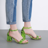 Women shoes Green sandals summer buckle high heels shoes snake prints Peep toe shoes chunky heel hollow slides zapatos mujer