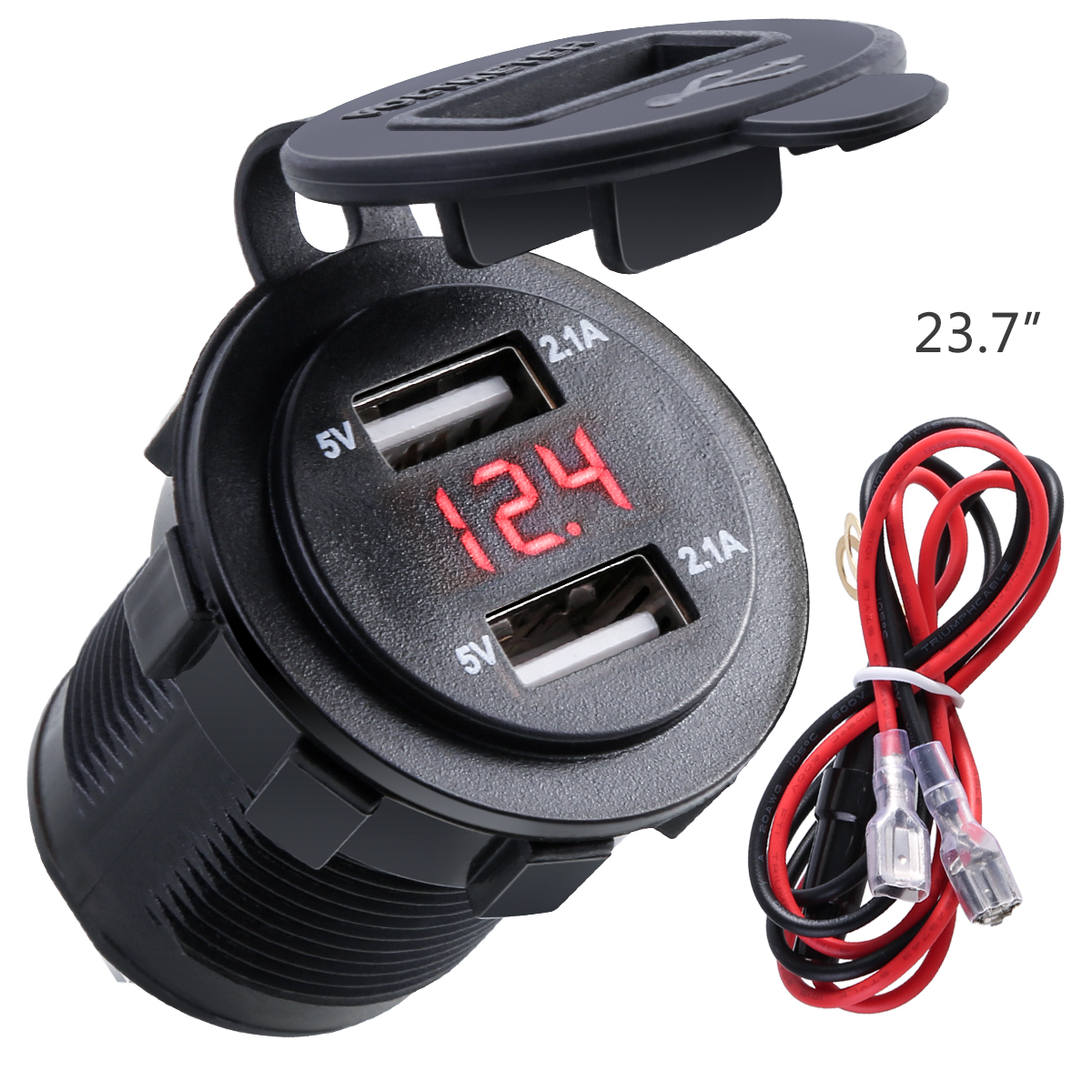 10A Fuse 2.1A With Voltmeter & Wire In-line Dual USB Charger Socket Waterproof Power Outlet For 12-24V Car Boat Motorcycle