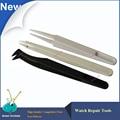 Wholesale 3pcs/set Assort Watch Tools Plastic ESD Tweezers for watchmaker, Anti-static Plastic Tweezer