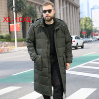 Woxingwosu men's over the knee hooded down coat white duck down warm jacket. thick loose type size XL to 5XL 6XL 7XL 8XL 10XL