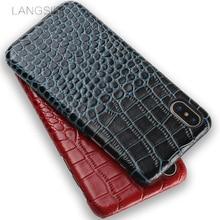 wangcangli mobile phone shell For iPhone 8 case advanced custom crocodile texture Leather Case
