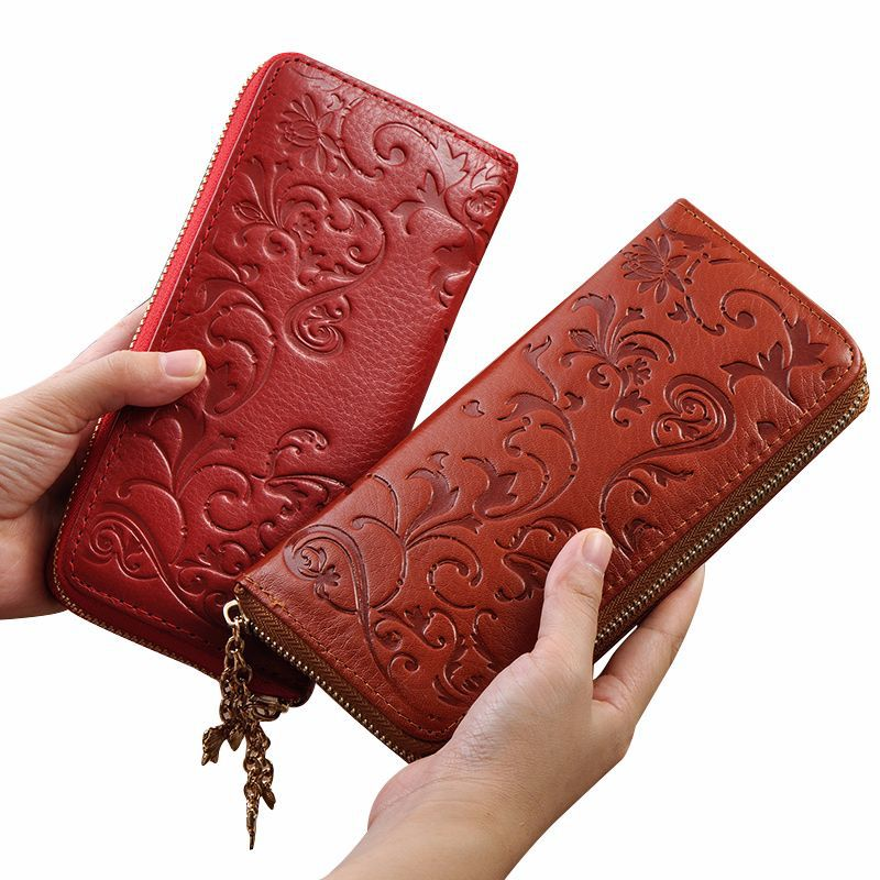 Ainvoev Genuine Leather Wallet Women Lady Long Wallets Women Purse Female 5 Colors Women Wallet Card Holder Day Clutch Bag A3439