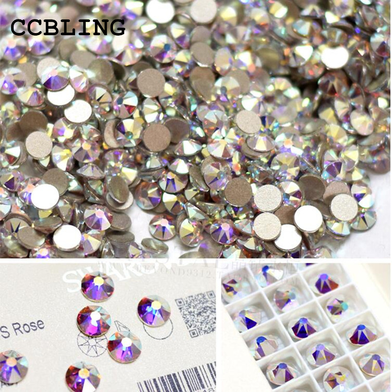 CCBLING SS3(1.3mm)1440pcs/Bag Crystal AB color 3D Non HotFix FlatBack 3D Nail Art Decorations Flatback Rhinestones DIY super shiny 1440pcs ss16 3 8 4mm clear ab glitter non hotfix crystal ab color 3d nail art decorations flatback rhinestones 16ss