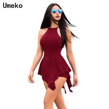 a35a63f955 Umeko Halter Romper for Women Sexy Solid Color Beach Bodysuit Sleeveless  Corset Female Playsuits Summer 2019