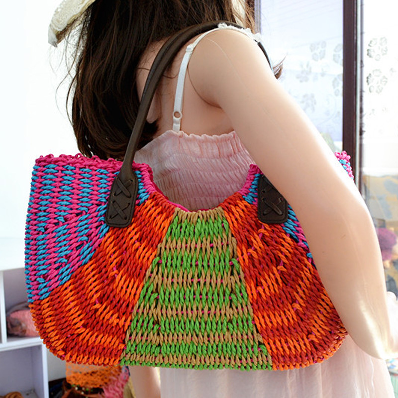2016 New Fashion Large Crochet Straw Bags To Decorate Vintage Tote Woven Beach Bag Women Summer Handmade Shoulder Bags Handbags handmade flower appliques straw woven bulk bags trendy summer styles beach travel tote bags women beatiful handbags