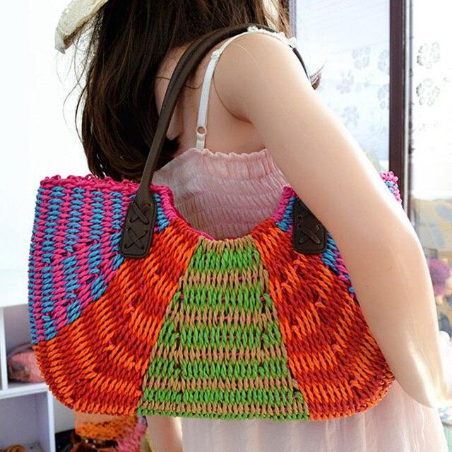 2016 nueva moda gran paja crochet Bolsas para decorar vintage Tote ...