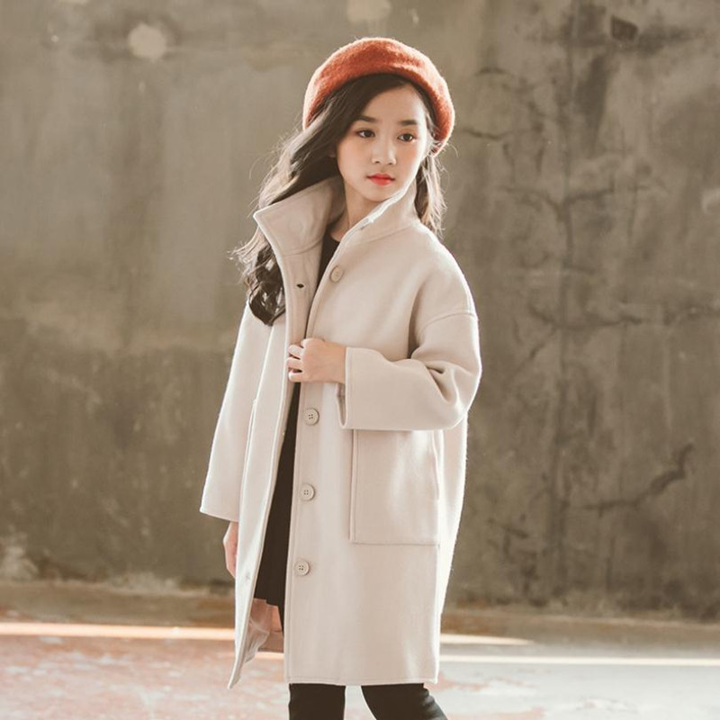 DFXD England Style New Children Girls Soild Color Long Mandarin Collar Single-breasted Wool Coat Fashion Girls Outwear 2-12Years stylish shirt collar long sleeves single breasted jumpsuit for women