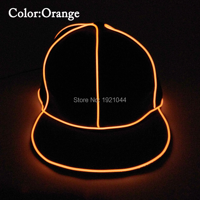 High-grade Hip Hop Glowing Cap EL Wire Flashing Party Hat Dance DJ Props Night fluorescent Cap for Birthday Party Supplies