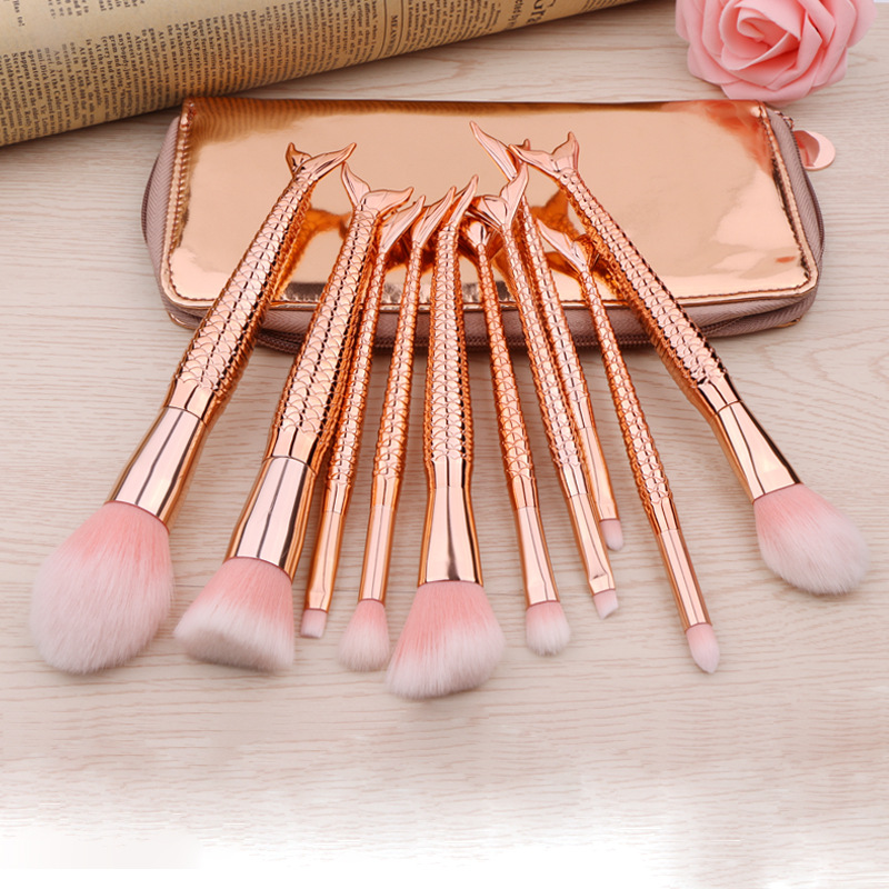 10Pcs Mermaid Make up Brush Set Fish Tail Foundation Powder Eyeshadow Makeup Brushes Contour Blending Cosmetic Brushes with bag недорого
