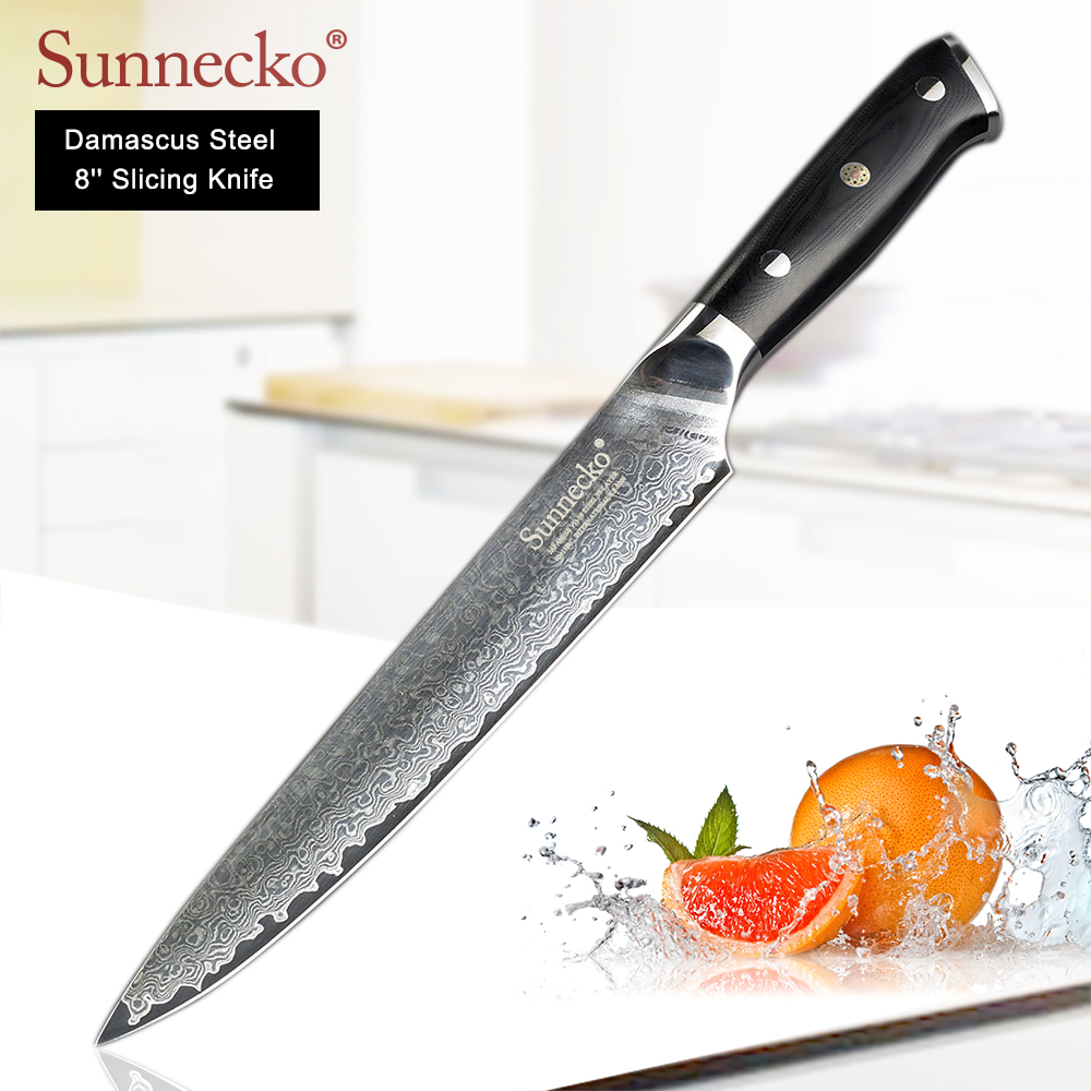 SUNNECKO 8 inch Slicing Knife Damascus Japanese VG10 Steel Blade Sharp Kitchen Knives G10 Handle Meat