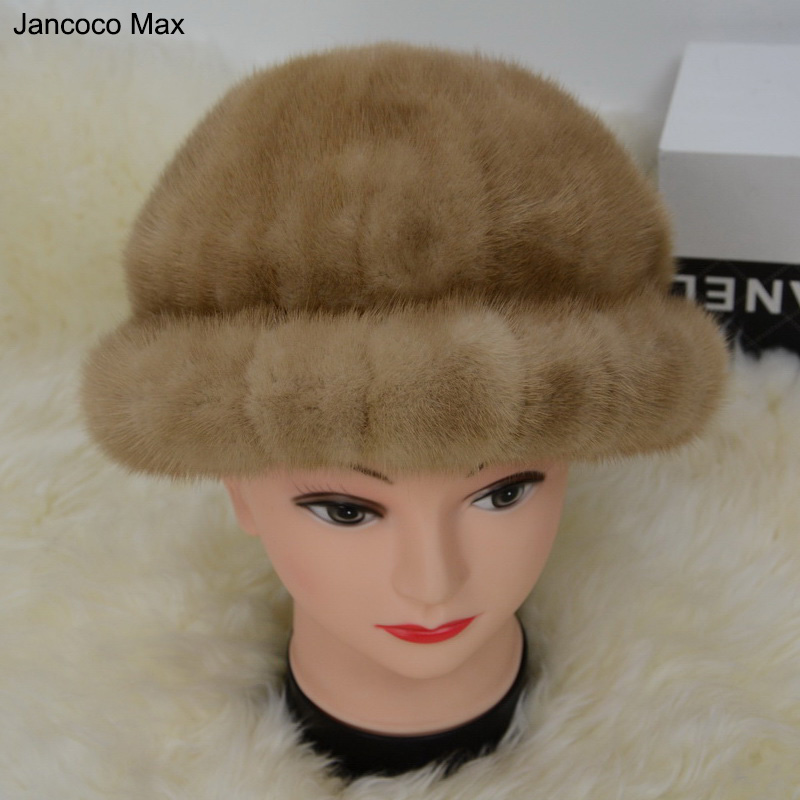 Jancoco Max S1579 Real 2016 Mink Fur Hat Women Winter Warm Fashion Beanies Cap Wholesale/ Retail foreign trade explosion models in europe and america in winter knit hat fashion warm mink mink hat lady ear cap dhy 36