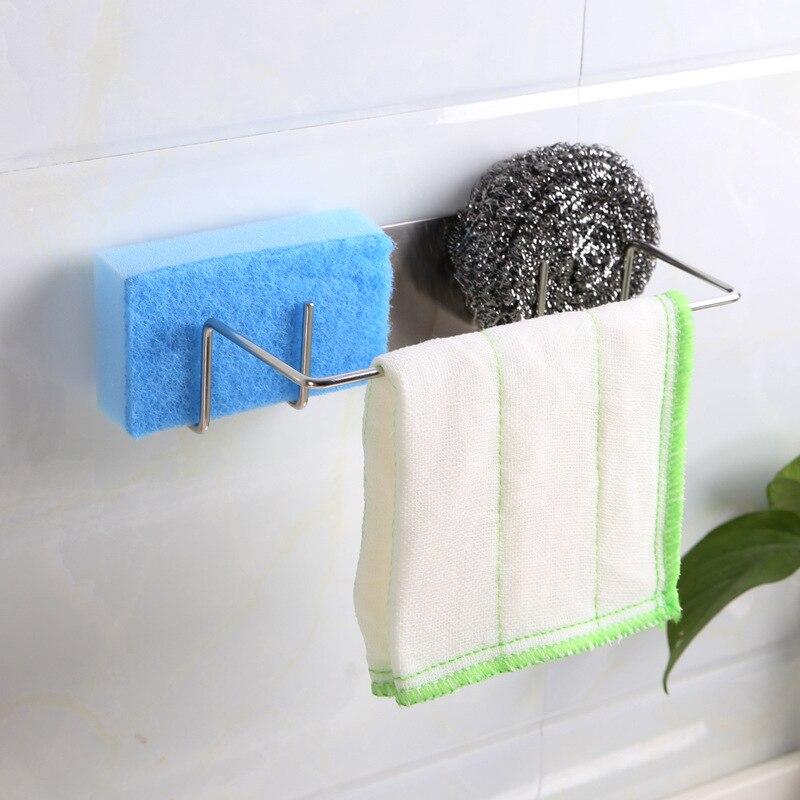 Kitchen Dishwashing Brush Sponge Holder Clip Durable Stainless Steel Wall-mounted Drain Drainer Drying Rack Dishcloth Organizer