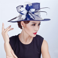 ShanFu Women Sinamay Large Fascinators Church Hat With Flower and Feather Bridal Hats and Fascinators Formal Cap Hair Accessorie
