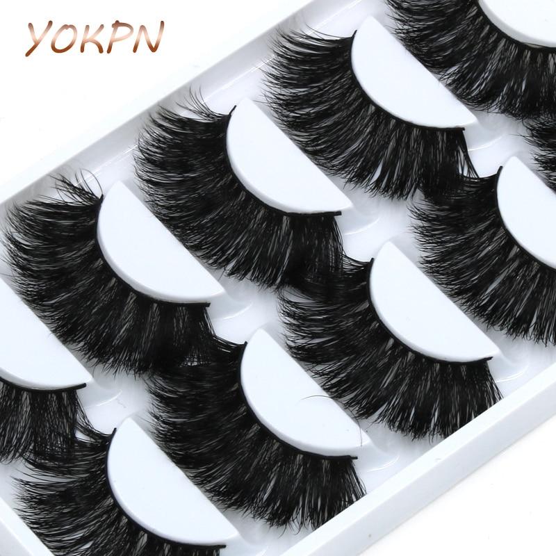 YOKPN 5 Pairs Mink False Eyelashes Crisscross Messy Thick Exaggerated Long Fake Eyelashes Stage Romance Makeup Mink Eye Lashes