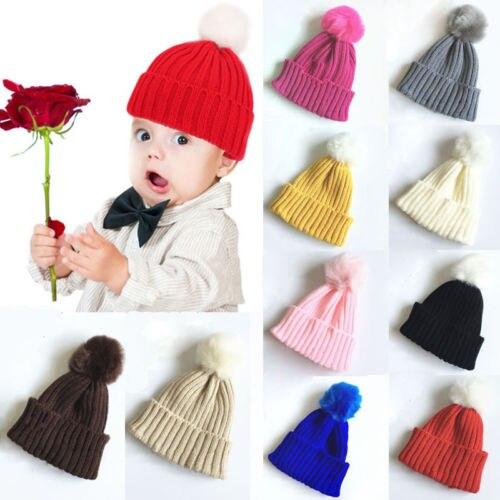 Helen115 Kids Baby Soft Cotton Beanie Girl Boy Knit Hat Toddler Infant Fur Warm Hat