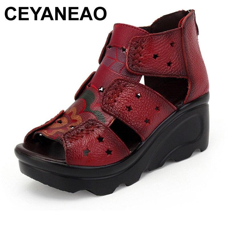 Echtem Retro Handgemachte Boden Weichen Sandale Persönlichkeit Freizeit Schuhe rot Frauen Flach Sandalen Leder Neue Ceyaneaoplatform Sommer Schwarzes gAwfxX