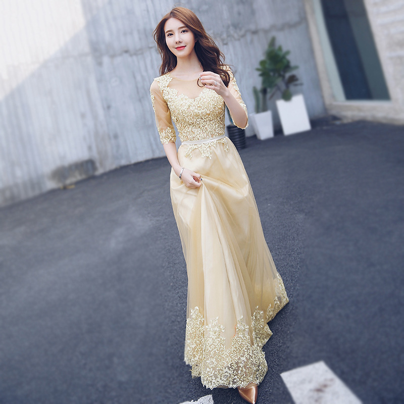 Golden Color Long   Prom     Dresses   2019 Elegant Scoop Half Sleeve   Prom     Dress   Elegant gala jurken vestido de festa longo
