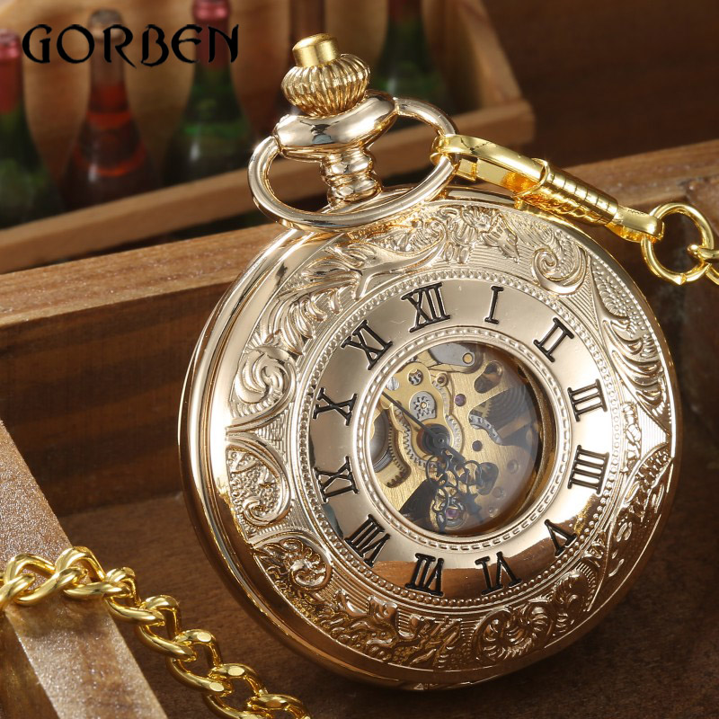 pocket watch gold chain promotion shop for promotional pocket 2016 gorben mens gold pocket fob watch chain luxury skeleton mechanical pocket fob watch
