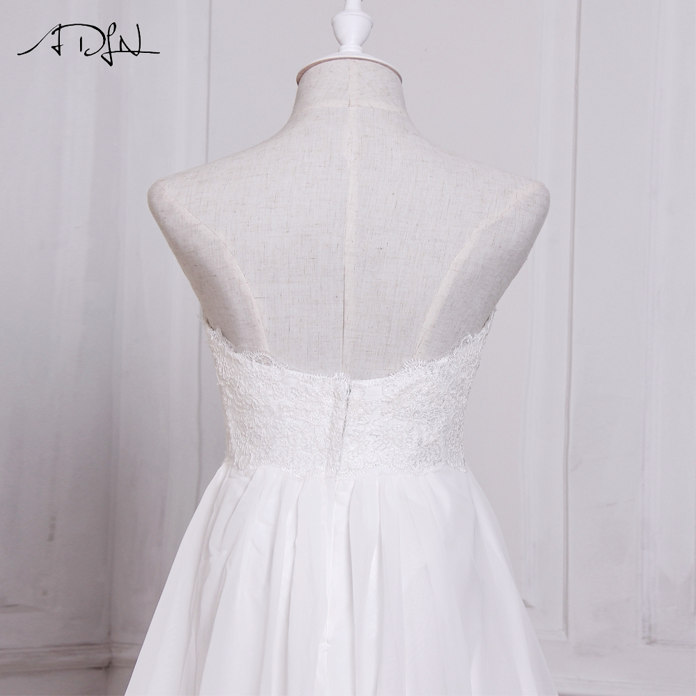 ADLN In Stock White / Ivory Chiffon Beach Wedding Dresses Vestido De Noiva Sweetheart A-line Bridal Gowns with Zipper Back 8