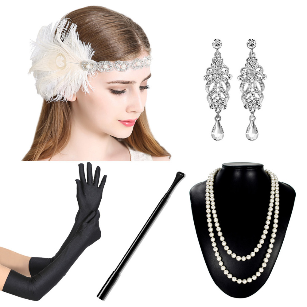 1920s Flapper Dress Accessory Set 5pcs Women Great Gatsby Dress Costume Accessory Set Glove Feather Headband for Prom bering часы bering 11435 765 коллекция ceramic