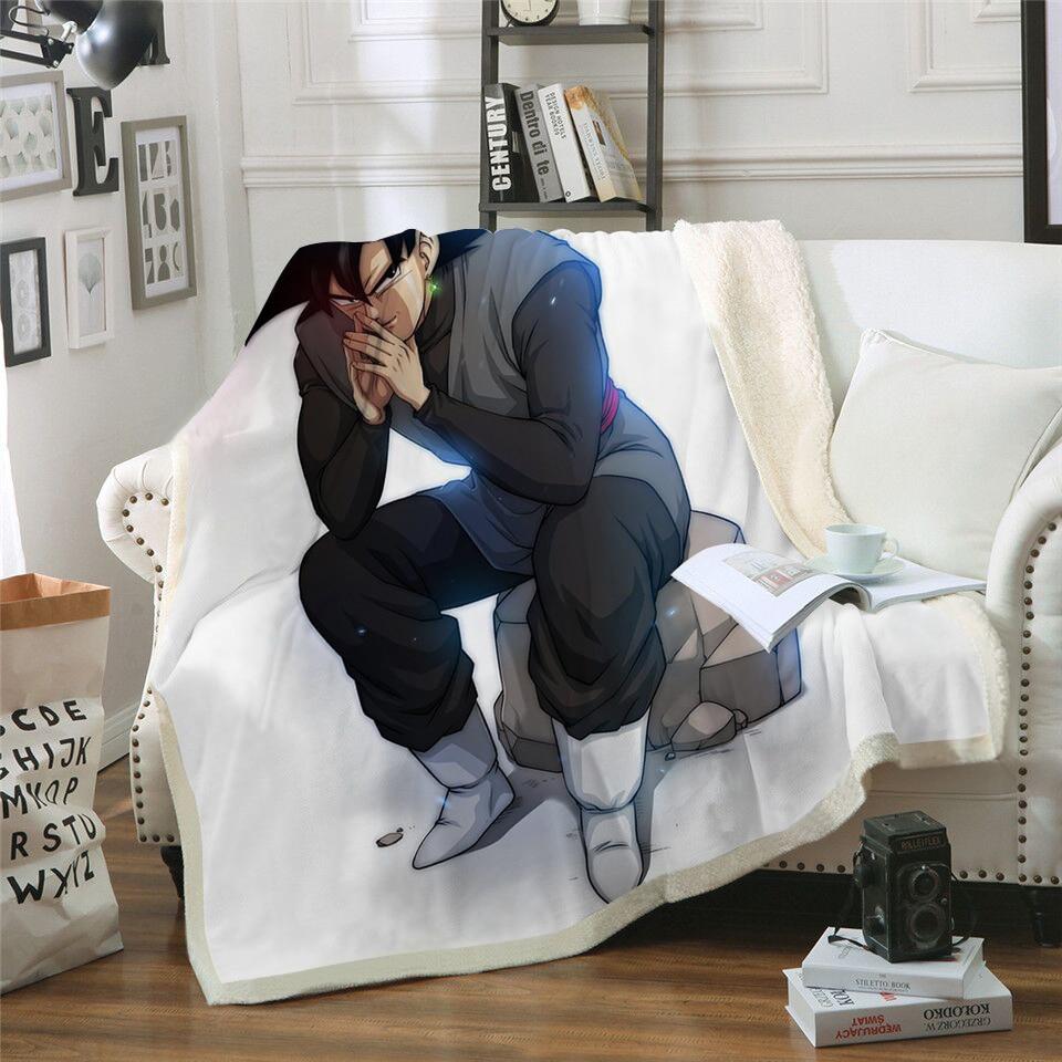 New Fashion Dragon Ball Printed Velvet Plush Throw Blanket Bedspread for Kid Girl Sherpa Blanket Travel Couch Quilt DIY