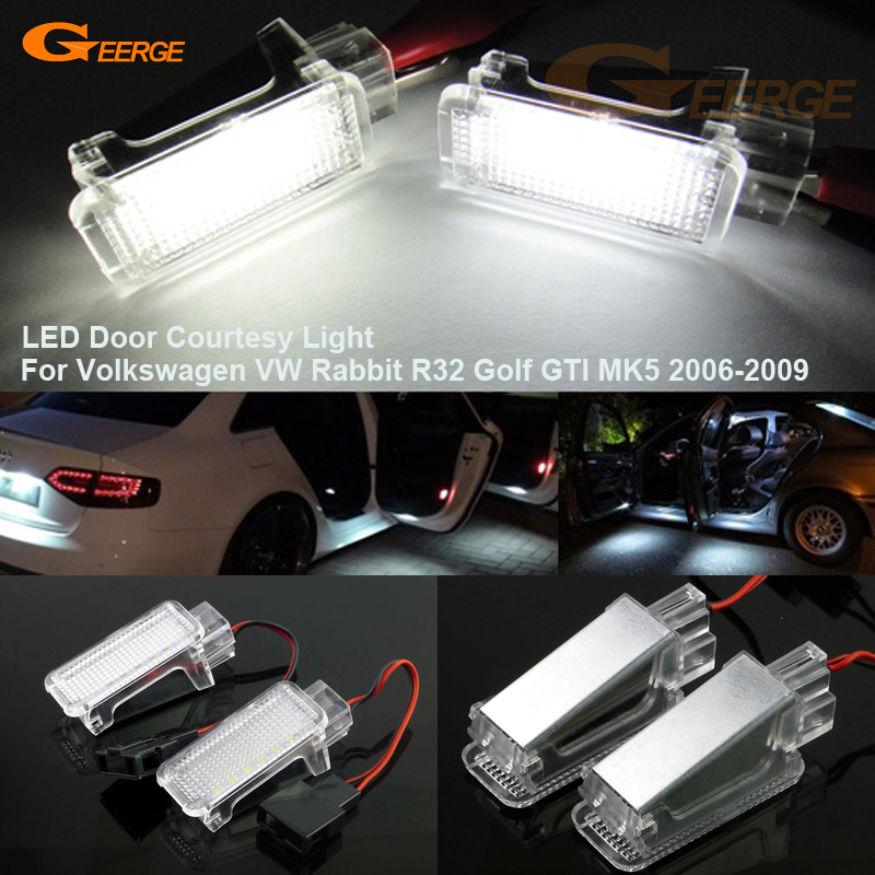 For Volkswagen VW Rabbit R32 Golf GTI MK5 2006-2009 Excellent Ultra bright 3528 LED Courtesy Door Light Bulb No OBC error
