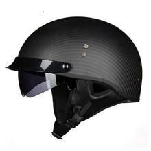 VOSS carbon fiber Harley motorcycle helmet with inner sun visor lens half face vintage moto helmets open motorbike helme