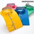 Deepocean 100% cotton shirt long sleeve men casual shirt Slit Autumn fashion solid color mercerized stripe patchwork XXS-5XL 6XL