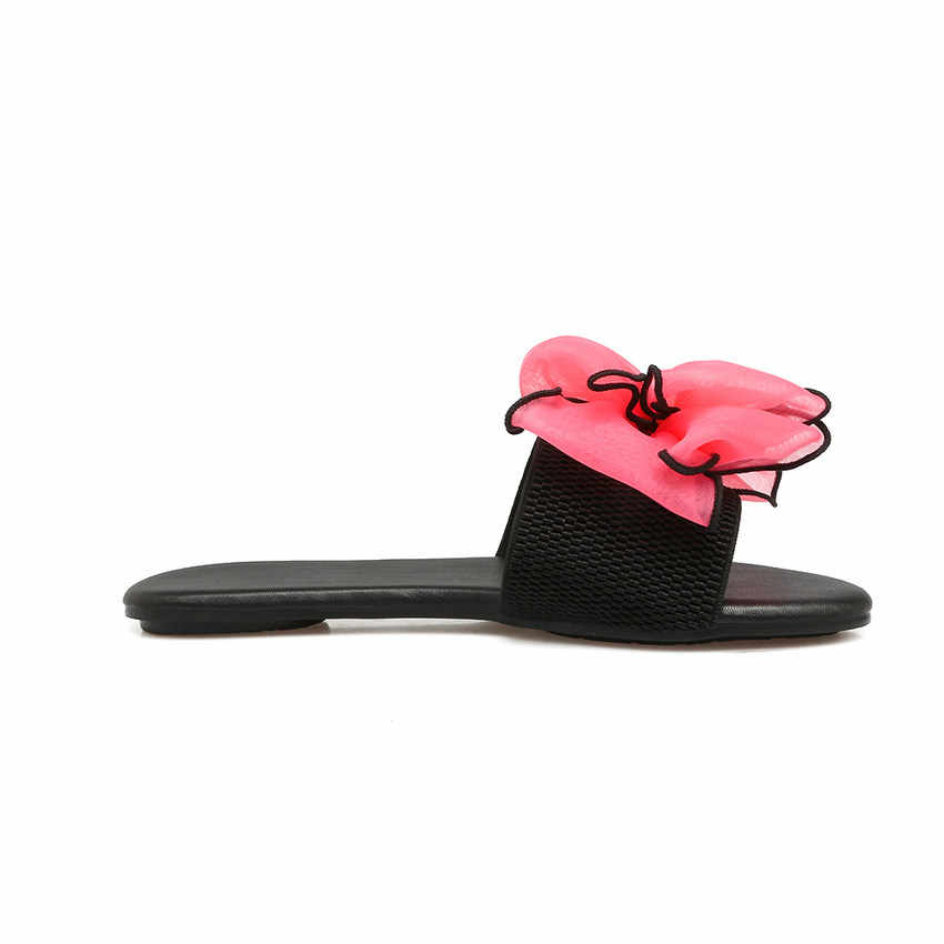 83cd0c0d2c09ed ... QUTAA 2018 Women Sandals Pu Leather Fashion Flower All Match Cute Style  Low Heel Flats Slip ...