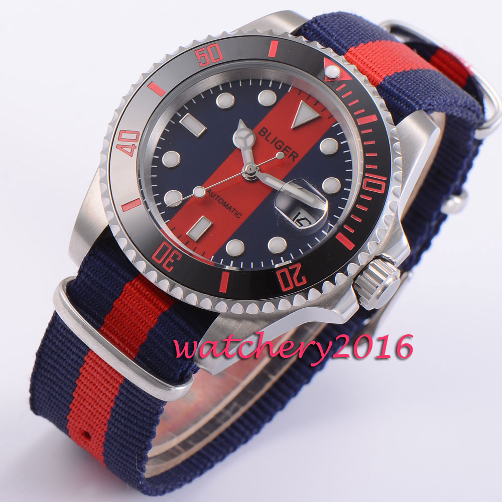 40mm Bliger luminous marks red & blue dial black ceramic bezel sapphire glass automatic movement Men's watch